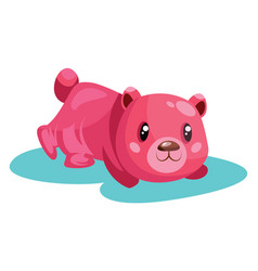 pink bear on the ground on white background vector image