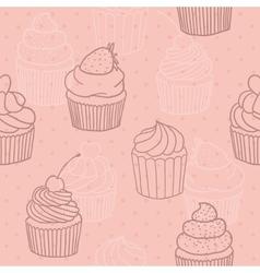 Pink cupckes pattern vector image
