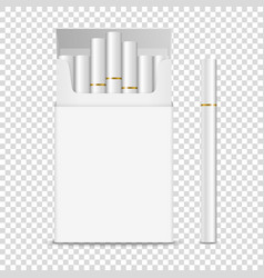 realistic opened clear blank cigarette pack vector image
