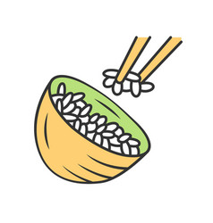 Rice color icon japanese food bowl with white vector