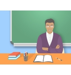 School teacher man at the desk flat education vector