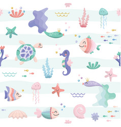 sea fish characters cartoon seamless background vector image