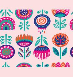 Seamless pattern with scandinavian flowers vector