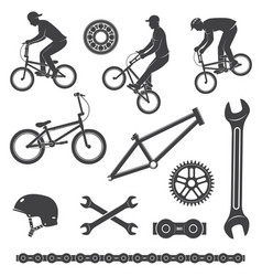 set bmx cyclist and bicycle equipment icon vector image