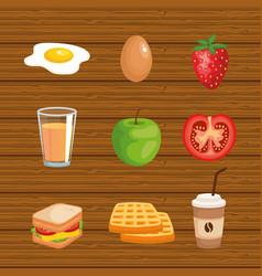 Set delicious breakfast food nutrition vector