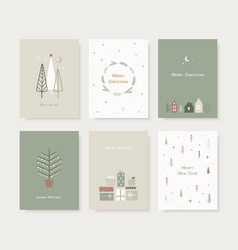 set hand drawn christmas greeting cards trendy vector image