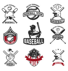 Set of baseball emblems baseball bats helmets vector