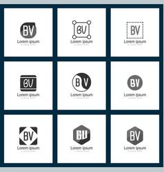 Set of letter logo initial bv logo template design vector