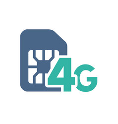 sim card with 4g network flat icon mobile slot vector image