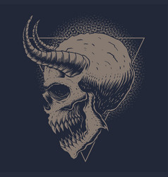 skull monster horned vector image