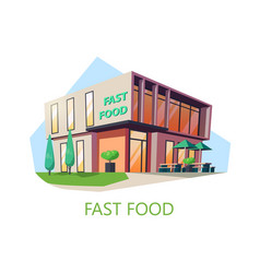 store or shop for fast foodamerican cafe building vector image