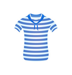Striped sailor t-shirt with blue scarf vector