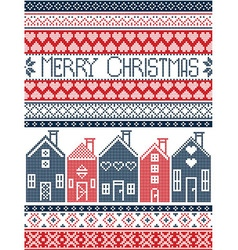 Swedish houses merry christmas in blue and red vector image