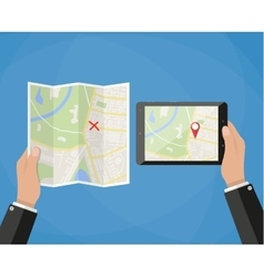 tablet navigation application and folded paper map vector image