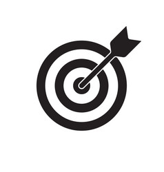 target and arrow icon dartboard shoot business vector image