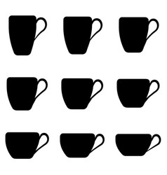 tea cup shape set tea cups classic shape vector image