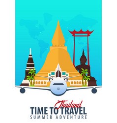 thailand time to travel banner with airplane vector image