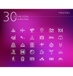 Travel concept outline icons set vector