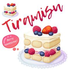 triple berry tiramisu dessert icon isolated on vector image