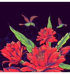 Vintage Card with Red Flowers and Hummingbirds vector