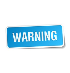 Warning blue square sticker isolated on white vector