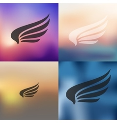 Wing icon on blurred background vector