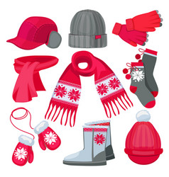 winter clothes hat cap scarf mittens fur vector image