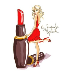 with girl and lipstick vector image