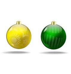 Yellow green cristmas ball vector