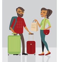 Young family traveling with baggage vector image