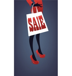 girl in red dress with shopping bag vector image vector image