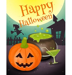 halloween retro card vector image