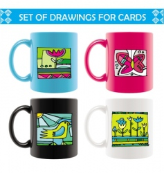 mugs with summer drawings vector image vector image