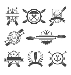 Rowing logo and paddle badges vector image vector image