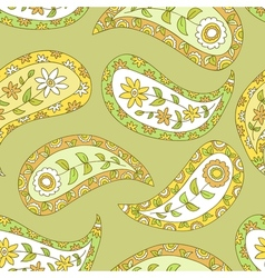 Summer green floral pailsey pattern vector image