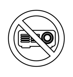 video projector with denied sign vector image vector image