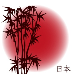 Bamboo on red sun vector image