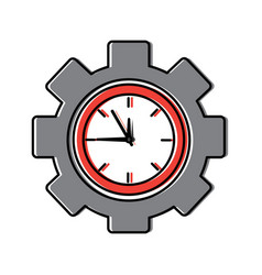 business clock gear work time vector image