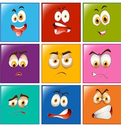 Facial expressions on square badges vector image