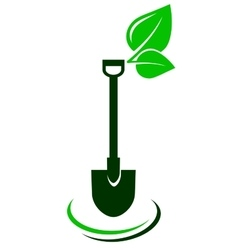 Icon with shovel and green leaf vector
