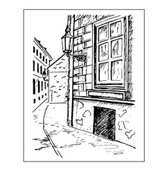 old town street window and lantern hand drawn vector image vector image