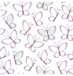 Outline seamless pattern with butterflies vector image vector image