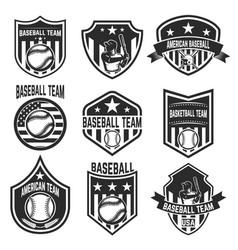 set of baseball team emblems on white background vector image