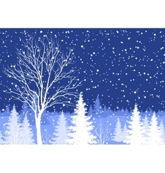 Winter Christmas landscape with tree vector image vector image