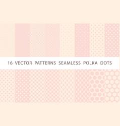 16 patterns seamless polka dots pink set vector image