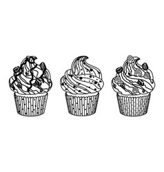 Delicious set of cakes on white background vector image vector image