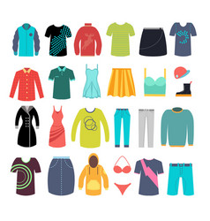 female and male clothes and accessories vector image