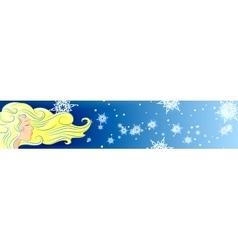 girl hair wind snowflake winter vector image