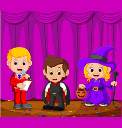 kids performing on a stage vector image