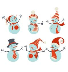 Set of retro snowmen vector image vector image